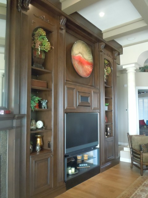 Pyrenees Entertainment Wall and Bar traditional-living-room