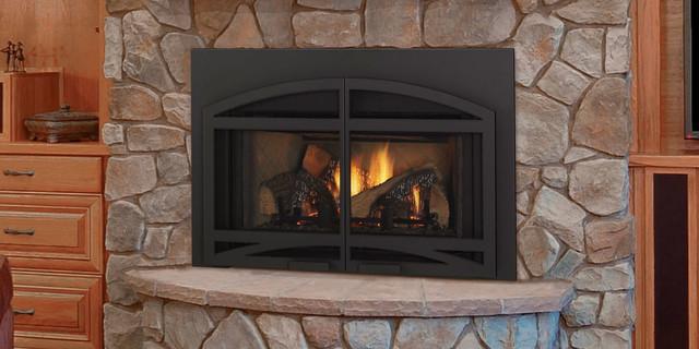 Qfi30 gas fireplace insert contemporary living room for Contemporary wood fireplace insert