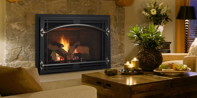 Qfi35fb gas fireplace insert contemporary living room by quadra fire wood pellet stoves - Contemporary fireplace insert for a warm living room ...