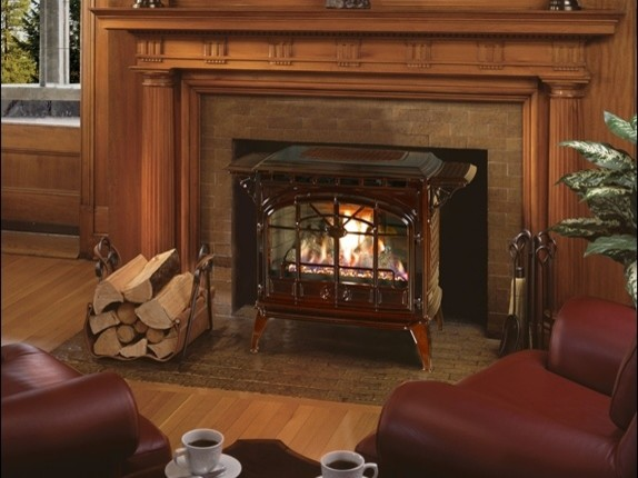 Quadra fire topaz gas stove living room by