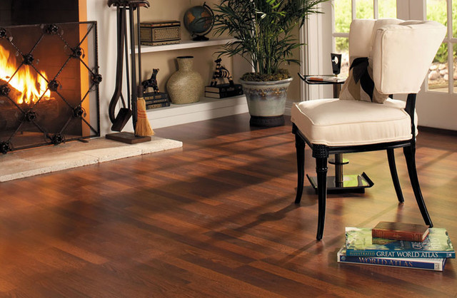 Quick Step Brazilian Cherry Laminate Flooring Rustic Living Room
