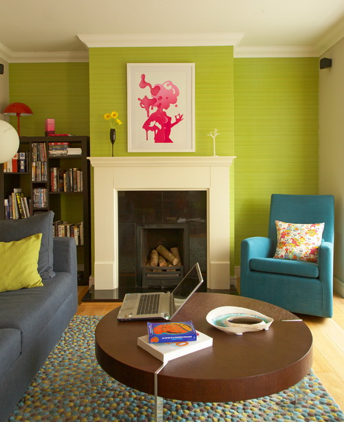 Try A Bright Green Grasscloth Wallpaper As A Accent Wall With A Bit Of  Texture. Eclectic Living Room ...
