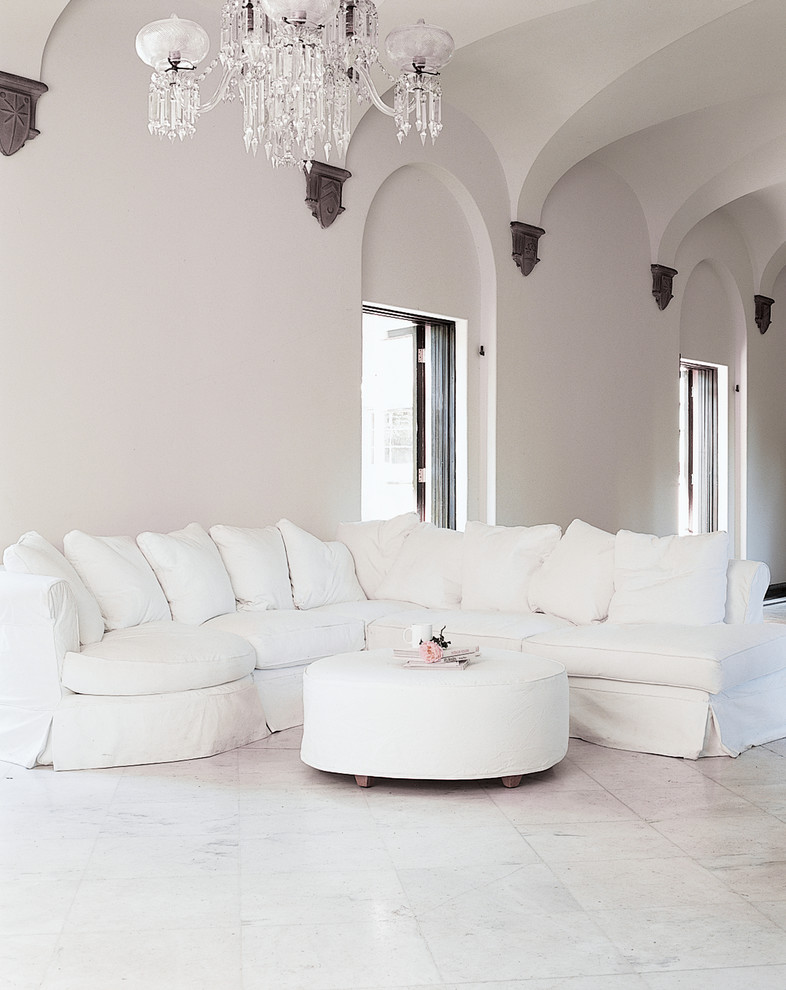 Living room - large shabby-chic style open concept living room idea in Los Angeles with white walls