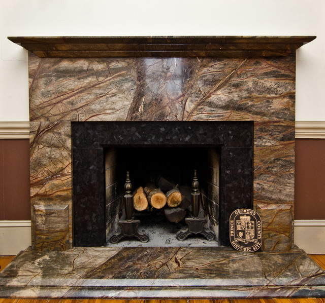 Cabinets And Fireplace Surrounds: Rainforest Green Granite & Leathered Antique Brown Granite