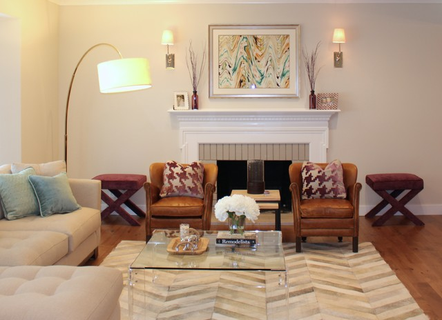 Example of a large transitional formal and open concept dark wood floor living room design in San Francisco with beige walls, a standard fireplace and no tv