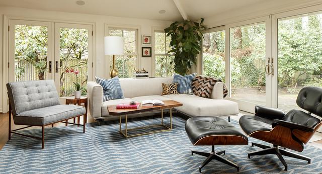 Raleighwood Midcentury Transitional Living Room