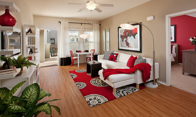 Model Living Room ralston courtyard apartment model - contemporary - living room