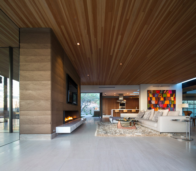 Rammed Earth Modern Contemporary Living Room