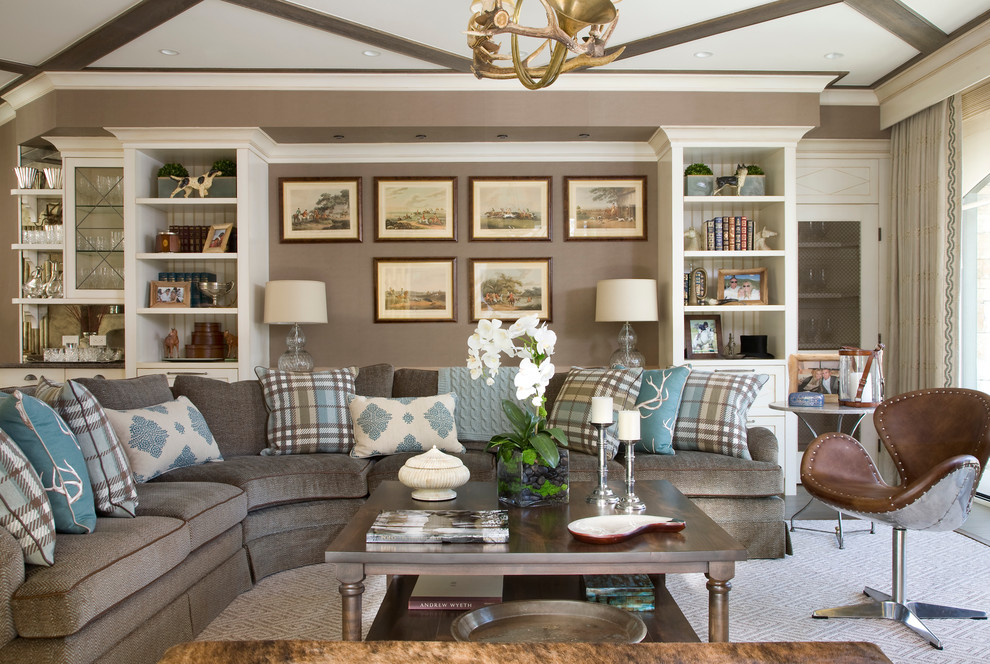 Living room library - traditional living room library idea in Denver