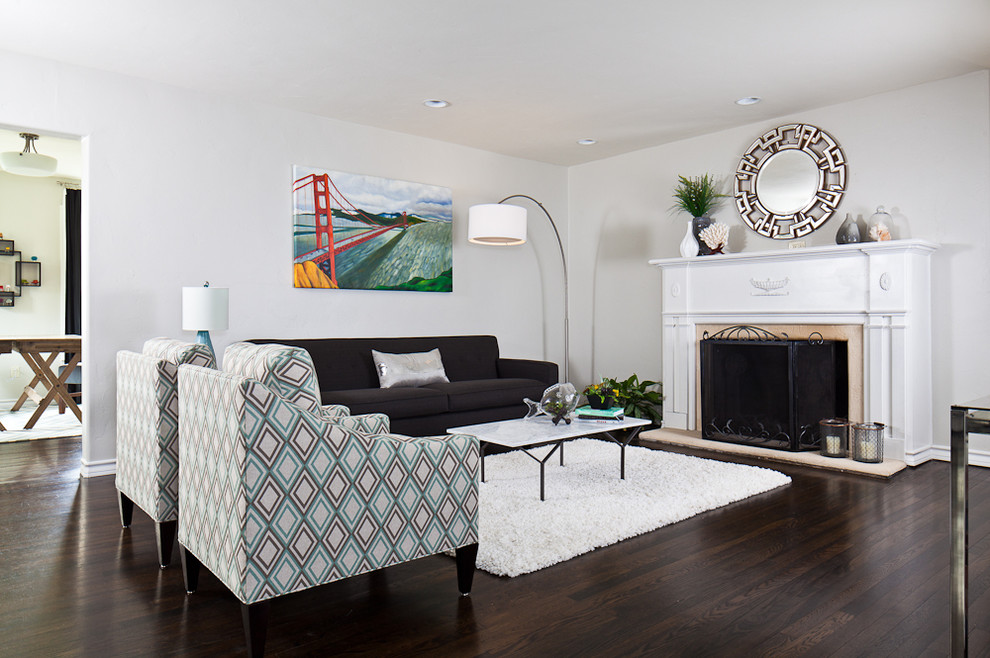 Minimalist formal and open concept living room photo in Austin with a standard fireplace and no tv