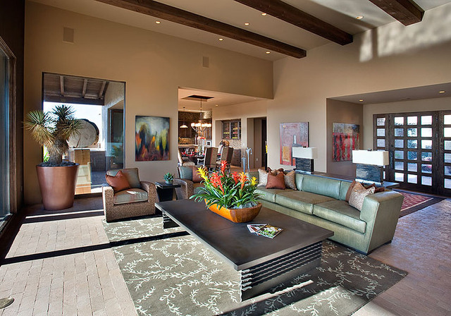 Ranch Courtyard Home contemporary-living-room