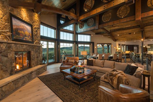 ranch home at marabou  rustic  living room  denver