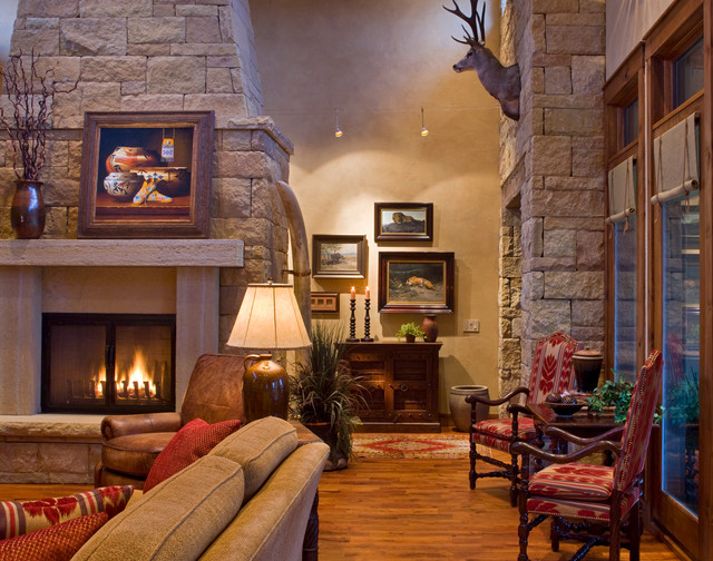 Ranch Rustic Living Room Austin By Linda Mccalla Interiors