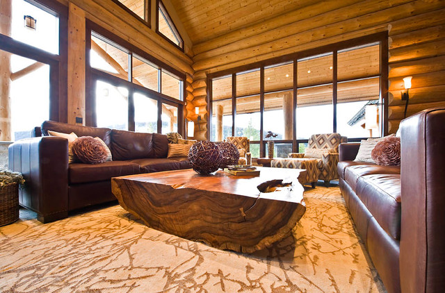 Ranch log home traditional living room vancouver for Modern log home interiors