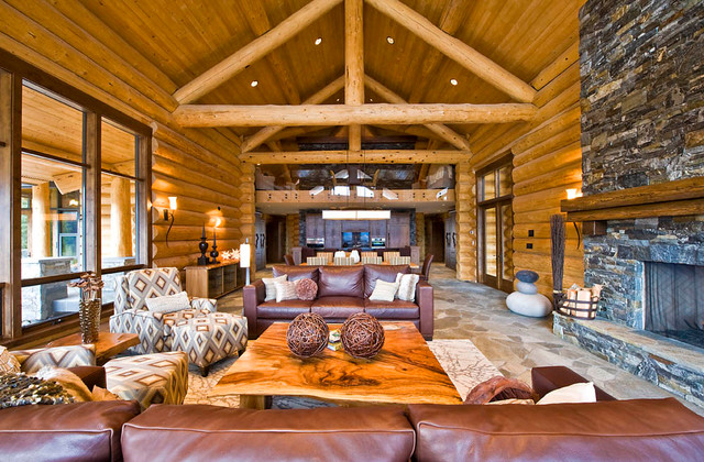 Ranch Log Home Rustic Living Room