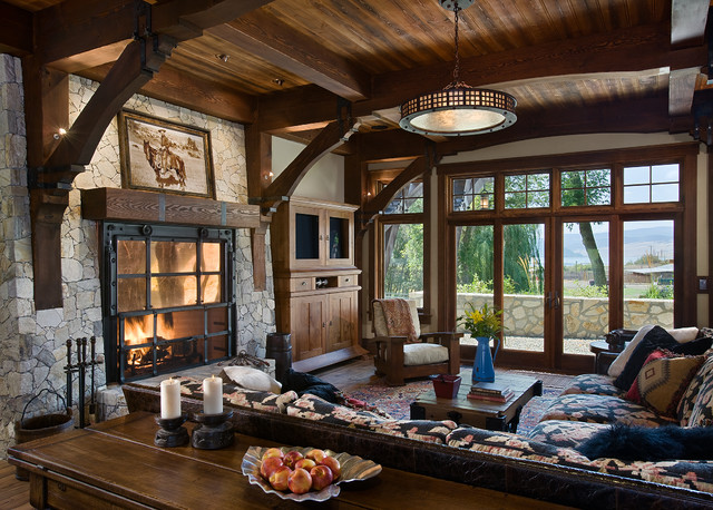 Ranch manor rustic living room calgary by mitchell brock for Downlight design living room