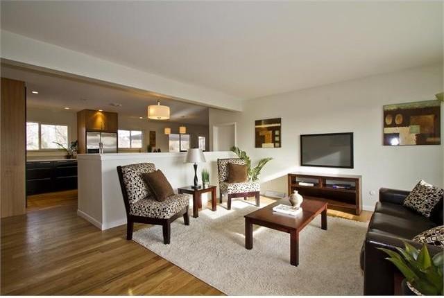 Ranch revival transitional living room denver by for Ranch living room ideas