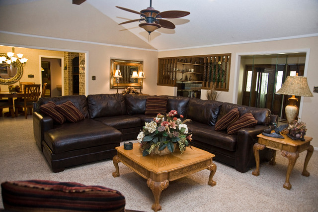 ranch style home traditional living room houston