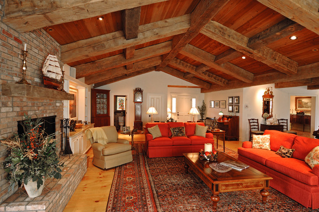 ranch style with decorative timbers traditional living