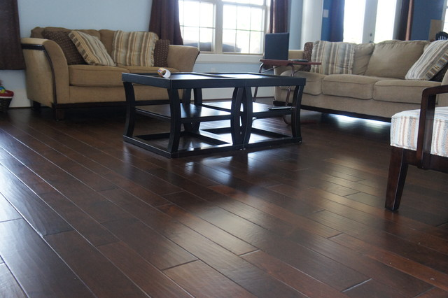 Random Width Hardwood Flooring Contemporary Living Room