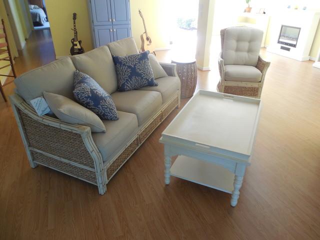 Rattan sofa for Tropical living room furniture