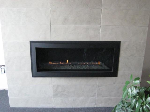 Rave Linear Dv Gas Fireplace W Custom Tile Finish 21114 Traditional Living Room