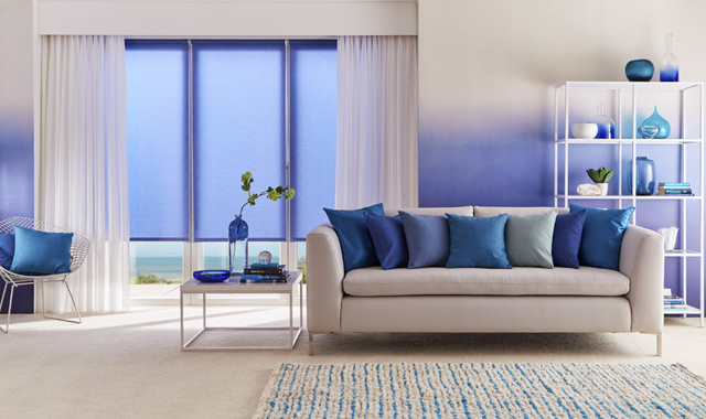 Ravenna Royal Blue Roller Blinds And Voile Curtains Living Room Other By Hillarys