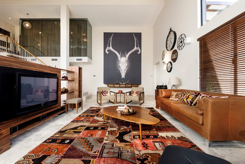 A rug with a Southwestern style in a contemporary living room