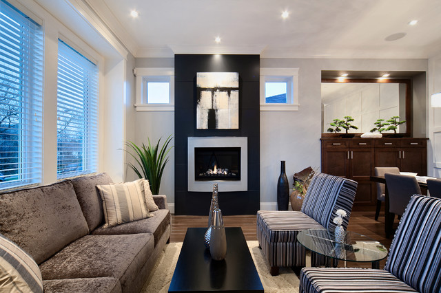 Inspiration for a mid-sized contemporary living room remodel in Vancouver with gray walls