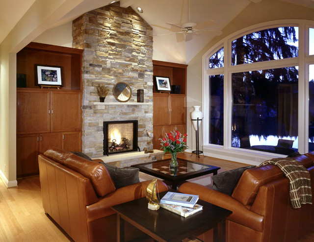 Real Stone Fireplace With Built In Cabinets