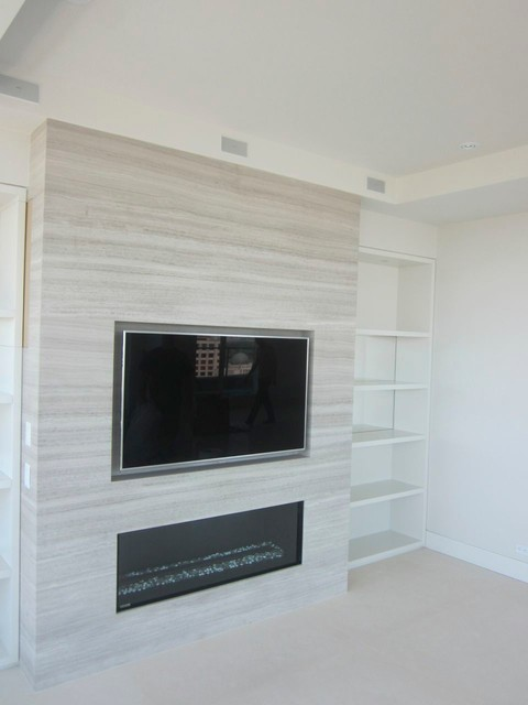 Recessed TV above Fireplace - Modern - Living Room - toronto - by Cloud 9 AV Inc.