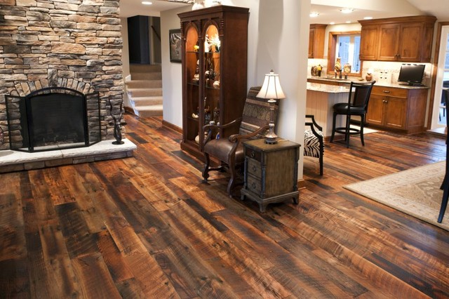 Reclaimed Antique Oak Hit Skip Hardwood Flooring traditional-living ...
