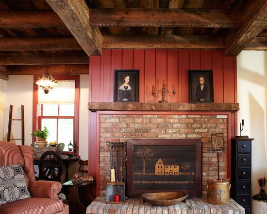 Reclaimed Barn Beams Projects in NYC, New Jersey & CT - Rough Sawn Exposed Beams for Interior Decor with Matching Fireplace Mantle