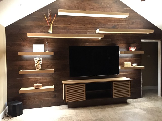 Reclaimed Barn Board Accent Wall rustic-living-room