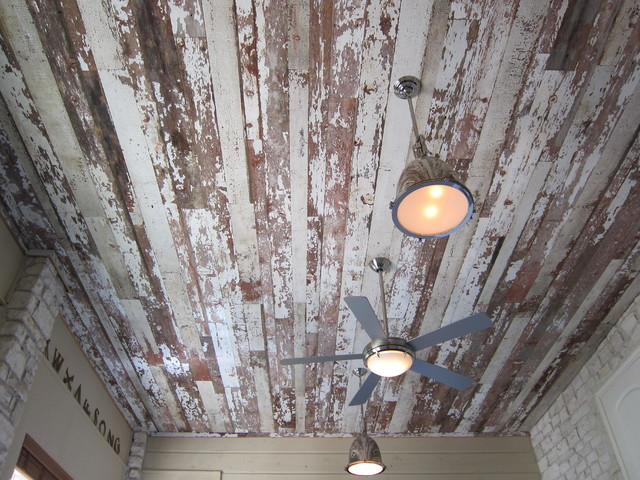 Reclaimed Barnwood Ceiling eclectic-living-room
