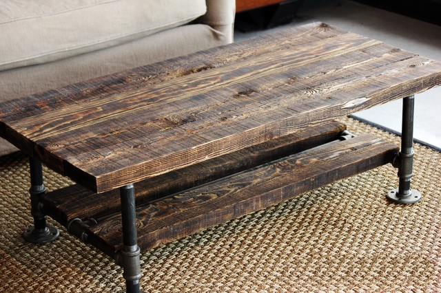 reclaimed burned wood & pipe coffee table - rustic - living room