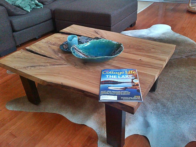 Reclaimed Elm Live Edge Slab Coffee Table contemporary-living-room