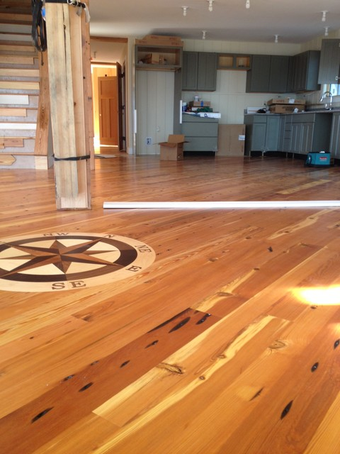 Reclaimed Heart Pine Flooring Yarmouth Maine Beach Style Living Room Other Metro By
