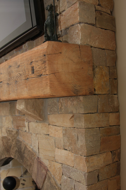 Reclaimed Heart Pine Mantels traditional-living-room