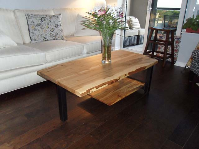 Reclaimed Maple Live Edge Trinity Cantilever Coffee Table contemporary ...