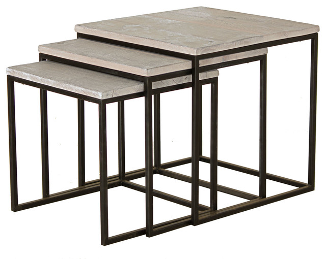 Reclaimed Oak and steel base nesting tables contemporary-living-room