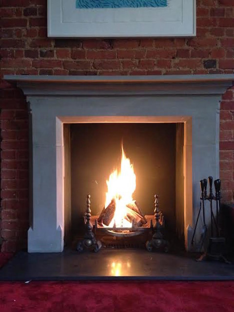 Reclaimed Stone Fire Surround With Open Fire