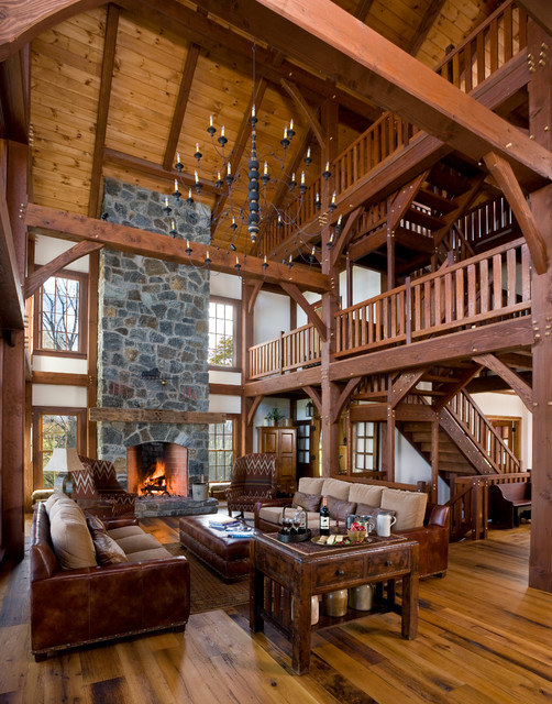 Reclaimed timber frame great room traditional living for Timber frame great room