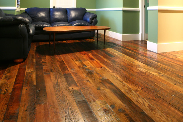 reclaimed tobacco pine hardwood flooring modern living