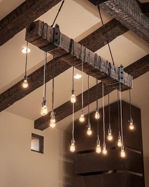 Reclaimed Wood Beam Chandelier Rustic Living Room