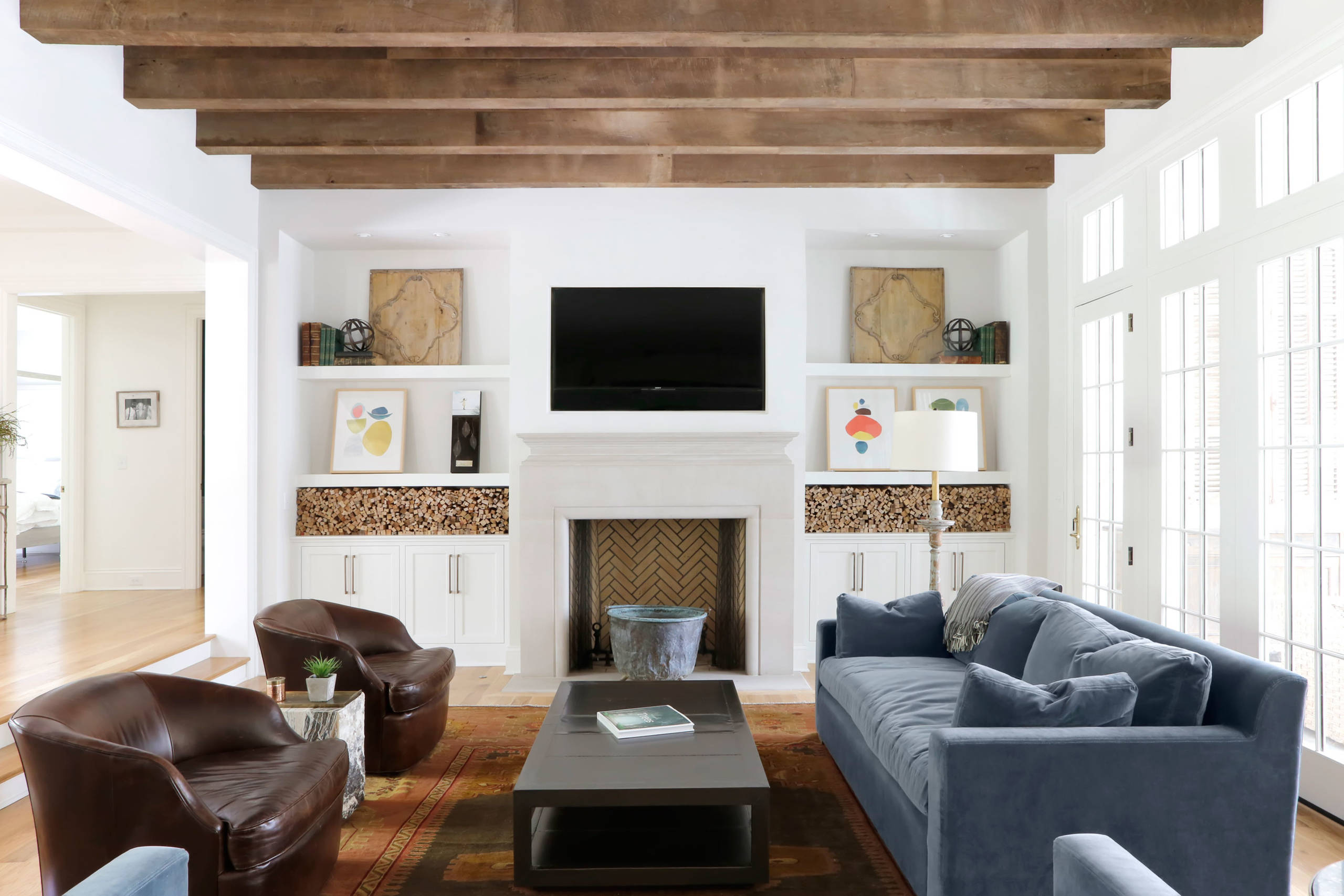 Reclaimed Wood Beam Living Room