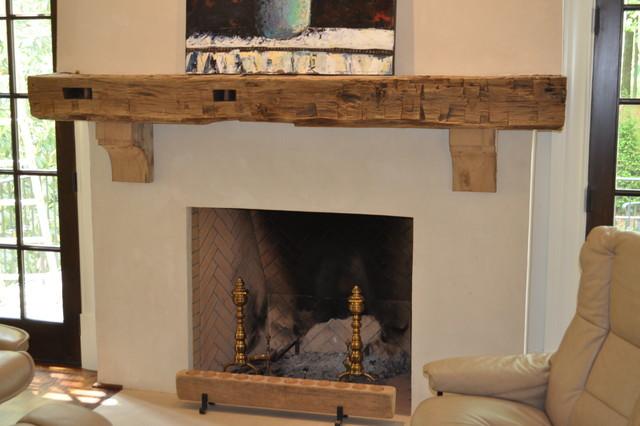 Reclaimed Wood Mantel Rustic Living Room Atlanta