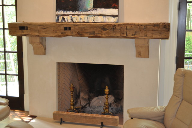 Reclaimed wood mantle rustic living room other by atlanta