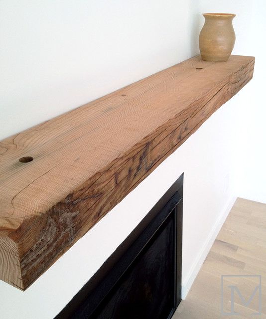 reclaimed wood mantel - Rustic - Living Room - Orange ...
