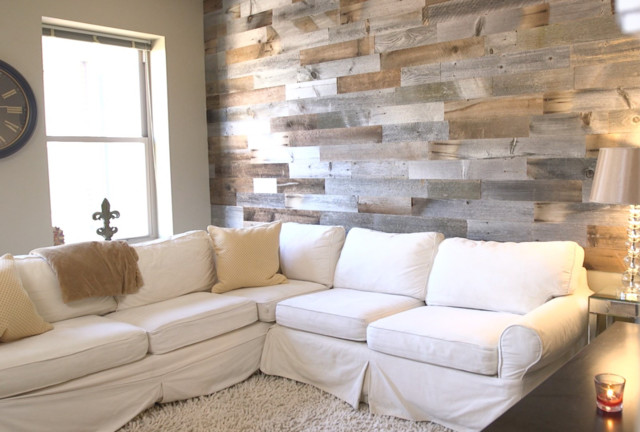 Attractive Reclaimed Wood Wall In Urban Apartment Rustic Living Room
